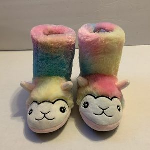 Totes Lama Rainbow slippers